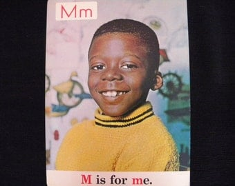 Rare Vintage 13 x 18 Classroom Poster M is for Me Black Americana ABC s 1970
