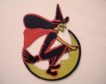 Vintage H E Luhrs Die Cut Halloween Witch with Broom and Moon Embossed