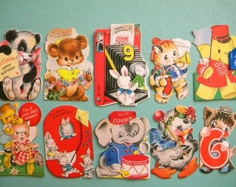 10 Vintage Diecut Birthday Cards with Cute Animals for Crafting