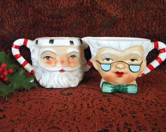 Vintage Lefton Santa and Mrs Claus Sugar Bowl and Creamer