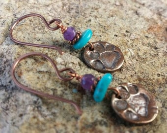 COPPER Pawprint Earrings - Turquoise and Amethyst Earrings - Dog Lover Earrings - Dog Rescue Earrings - Rustic Jewelry - Cowgirl Earrings