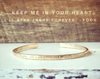 New!! AA Milne quote Cuff/ Winnie the Pooh quote// Personalized cuff// inspirational bracelet//Mantra Bracelet/ Best Friend