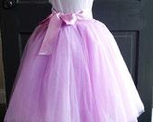 Girls Lilac Bouquet Long Sewn Tulle Skirt,  Purple Lavender Tutu, Toddler Tulle skirt, Girls Tutu, Flower girl dress, long tulle skirt