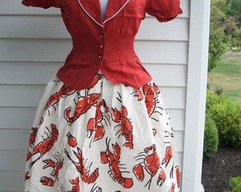 Lobster Skirt, Nautical Skirt, Red lobster skirt, Beach skirt, Womens Cotton Skirt Retro 1950s style a line Summer Spring
