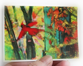 Autumn Cardinal aceo, 2.50x3.50 inches, miniature art, bird aceo, gina signore, autumn decor, red birds, Fall photography