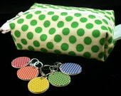 Green polka-dots mini box bag and stitchmarker set for KNITTERS