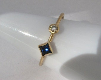 Sapphire, Diamond 14k Gold Stack Ring - Size 7 Ready to Ship
