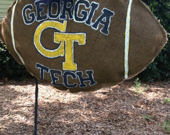 Georgia Tech Burlap Team Spirit Football Wreath!!!!!!!!!