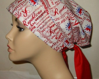 Republican Party Print Chemo Hat, Cancer Scarf, Modest Hat