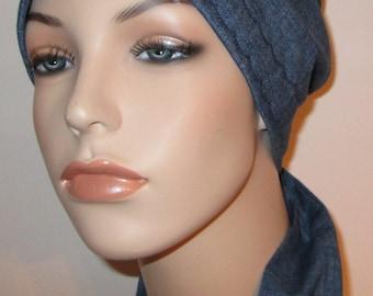 FREE SHIP USA Lightweight Denim  Chemo Hat, Cancer Scarf, Surgical Scrub Hat Hair Loss Alopecia Biker Hat