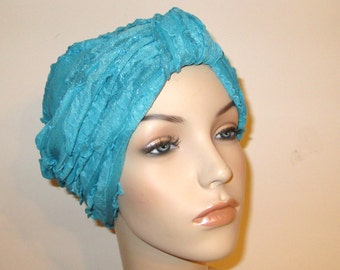 Ruffled Turquoise Turban, Chemo Hat,  Womens Hat, Alopecia Head cover FREE SHIP USA