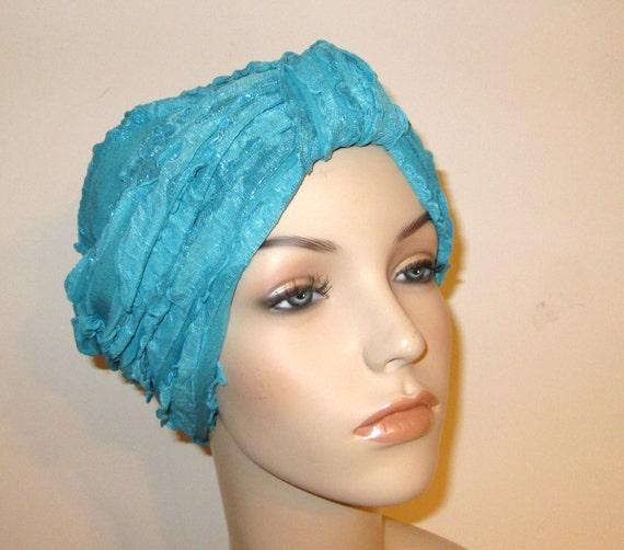 Ruffled Turquoise Turban, Chemo Hat,  Womens Hat, Alopecia Head cover FREE SHIP USA