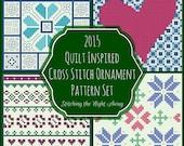 Quilt Inspired Cross Stitch Ornament Pattern Set