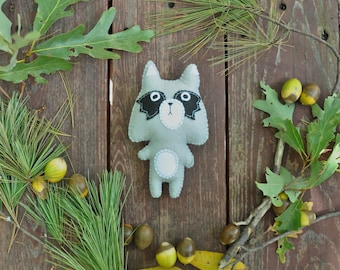 Felt Stuffed Raccoon, Plush Raccoon, Woodland Critter, Felt Raccoon, Stuffed Raccoon Toy, Woodland Nursery