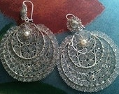 Sale Beautiful Mexican Wedding Filigree earrings , Silver Sterling