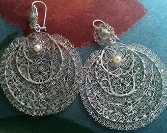 Sale Beautiful Mexican Wedding Filigree earrings , Silver Sterling