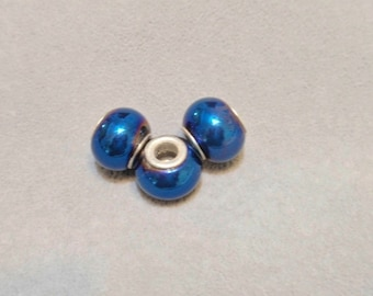 8 Cobalt Blue Beads , has  a purplish style hue at the edge , Large Hole European style beads