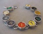 Typewriter key Bracelet - spells WRITER  Colorful Typewriter Keys Writer typewriter key Jewelry  Bracelet