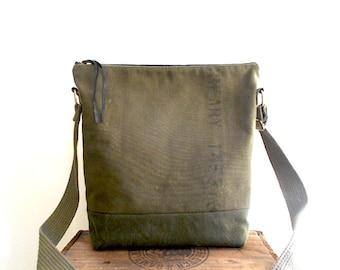 Vtg military canvas crossbody, zipper tote bag,  iPad Pro - eco vintage fabrics