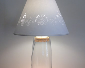 Clear Glass Fillable Lamp-Fillable Lamp-Seashell Fillable Lamp-Glass-Fillable-Paper Lampshade-Beach Lamp-Coastal Lamp-Table Lamp-Lamps