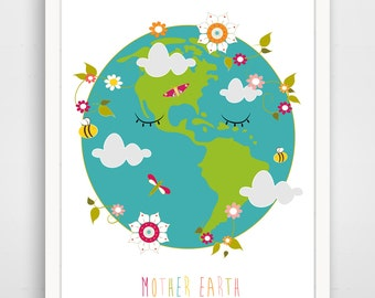 Children's Wall Art / Nursery Decor - Mother Earth by Finny and Zook