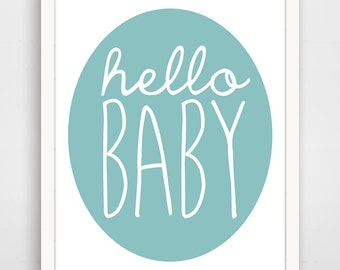 Nursery Wall Art / Children's Wall Art / Nursery Decor Hello Baby Blue and White print by Finny and Zook