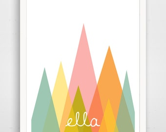 Abstract Mountains Custom Print, Pink Nursery Decor, Baby Wall Art, Custom, Personalized Print