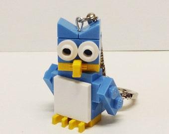 Mini Lt Blue Owl Key chain