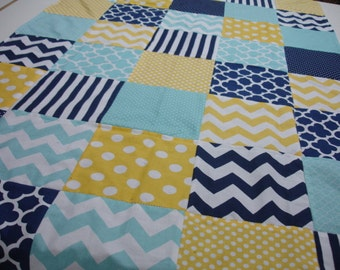 Mixed Geometrics Navy Aqua Yellow Minky Blanket You Choose Size and Minky Color MADE TO ORDER No Batting
