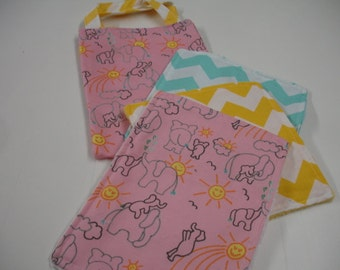 Elephants You Are My Sunshine Pink Aqua Yellow Tote Bag and Quick Wipe Handkercheif Set SMALL Ready to Ship