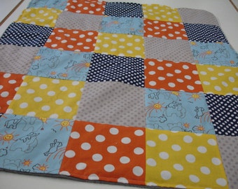 Elephants You Are My Sunshine Blue Gray Orange Yellow Navy Minky Baby Blanket 29 X 34  READY TO SHIP On Sale