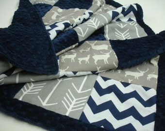 Deer Family Navy Gray with Arrows Patchwork Minky Blanket You Choose Size and Minky Color MADE TO ORDER No Batting