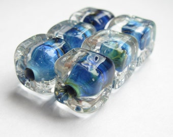 6 transparent blue cube lampwork handmade artisan glass pairs square
