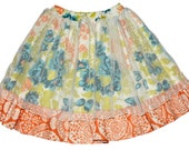 SAMPLE SALE - Ellis Skirt in Barefoot in the Park - Size 3 - With sweet mesh overlay and ruffled trim!