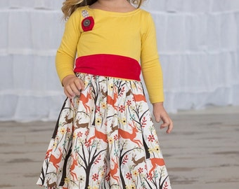 SAMPLE SALE -  Merrilee Dress in Curiouser & Curiouser  - Size 3... Jersey bodice with applique flowers and charming print skirt