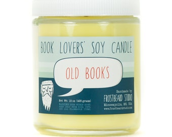 Old Books - Book Candle -  Book Lover Gift - Scented Soy Candle - Frostbeard Studio - 8oz jar
