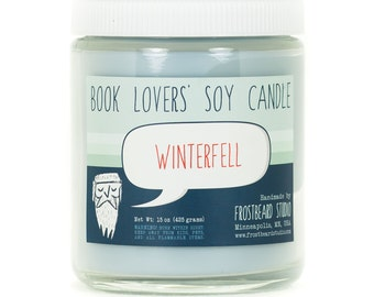 Winterfell - Book Candle -  Book Lover Gift - Scented Soy Candle - Frostbeard Studio - 8oz jar