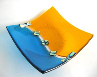 Turquoise Glass Bowl Fused Orange Blue Dichroic Art Glass Shallow Abstract Handmade Dish Art Dawn of Creation Bright Colors Contemporary