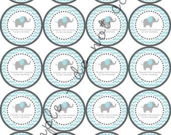 "INSTANT DOWNLOAD / Blue Elephant Chevron Baby Shower 2"" printable Party / Cupcake Topper / Stickers / Thank You Tag"
