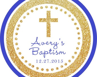 Baptism Cross Gold Glitter Blue Thank You PERSONALIZED Stickers, Tags, Labels, or Cupcake Toppers, various sizes, printed & shipped