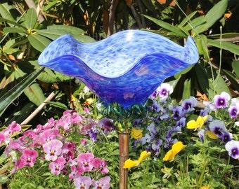 Cobalt Blue Hand Blown Glass Flower Garden Art Sculpture Outdoor Decoration Garden Finial