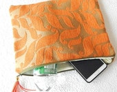 CLEARANCE Upholstery pouch, orange  pouch, floral  clutch, fabric clutch, zipper pouch, lined pouch, flat pouch, fashion accessory, womens a