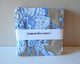 coasters botanical floral blue brown