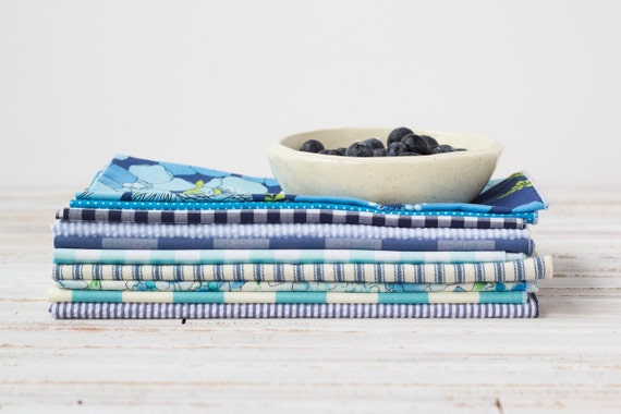 Color Block Kitchen Starter Set in Blues- 20 Cloth Napkins by Dot and Army