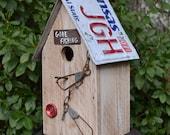 Rustic Birdhouse - Fishing Birdhouse - Primitive Birdhouse - Recycled Birdhouse - License Plate Birdhouse