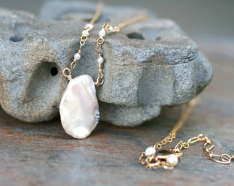 14Kt Gold Filled White Keishi Freshwater Pearl Necklace, Bridal Necklace, Handmade Jewelry