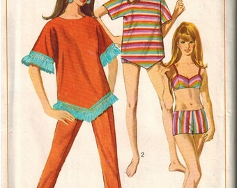 1967 Simplicity 7094 Retro Mod Cover Up and Bikini Sewing Pattern Vintage Size 14 Bathing suit
