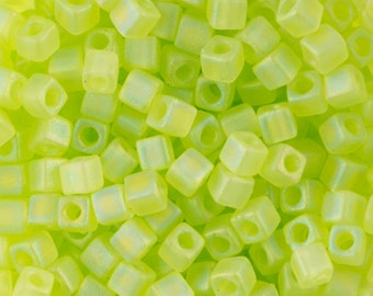 Matte Transparent Chartreuse Miyuki Cube Seed Bead 1.8mm 8.2gm Tube SB18-143FR-TB