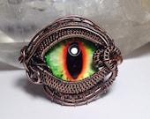 Woven wire wrapped Dragon Eye, pendant