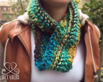 Proceeds to Animal Rescue, Retablo Infinity Scarf, Multi-Colored, Blues Browns & Gold, Crocheted, UniSex, One Size Fits All, Accessory
